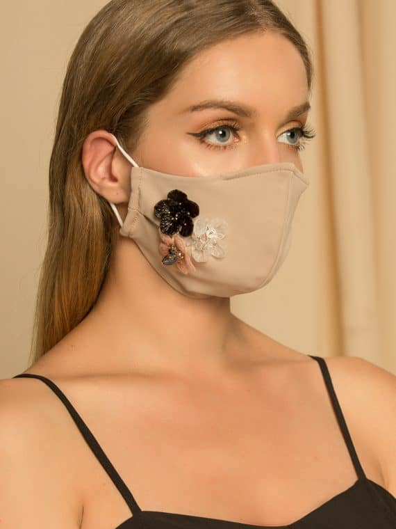 Beige Flowers Face Mask