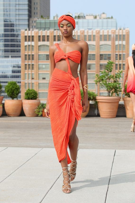 Tamala Orange Midi Dress