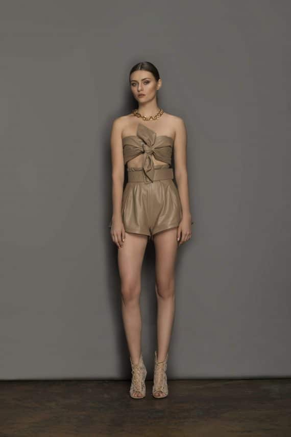 Donatella Coffee Shorts (Veggan Leather) Resort Dresses