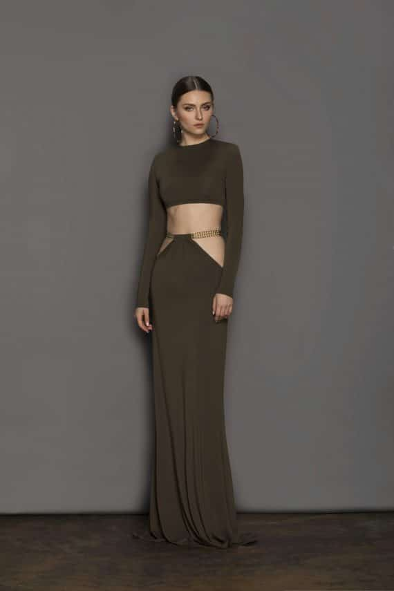 Cleopatra Khaki Two Piece Resort Dresses