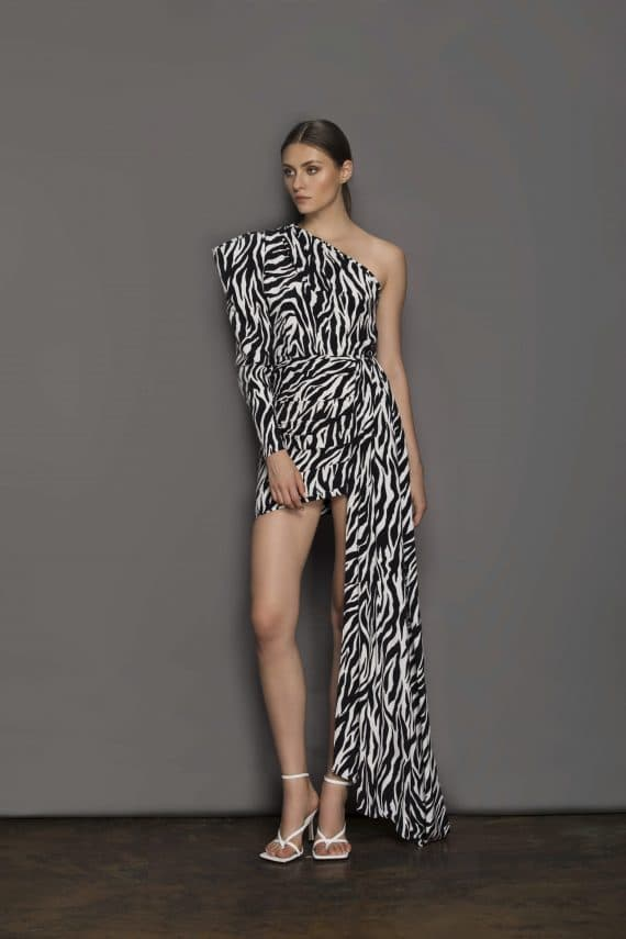 Zebra Mini One Shoulder Dress Resort Dresses