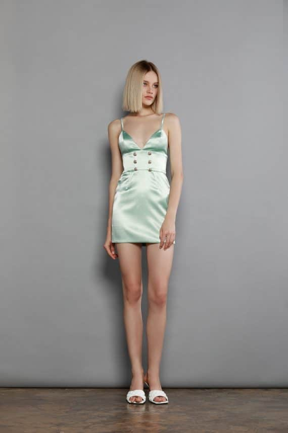 Crystal Mint Mini Dress Spring Dresses