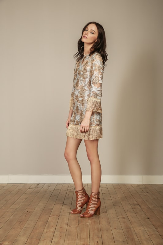 Becca Gold Fringe Dress