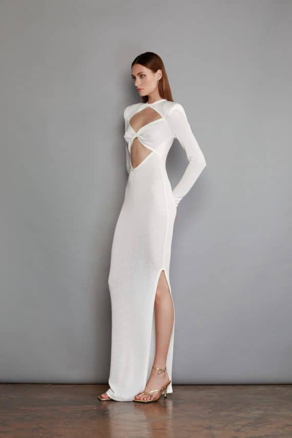 Daphne Maxi White Knit Dress