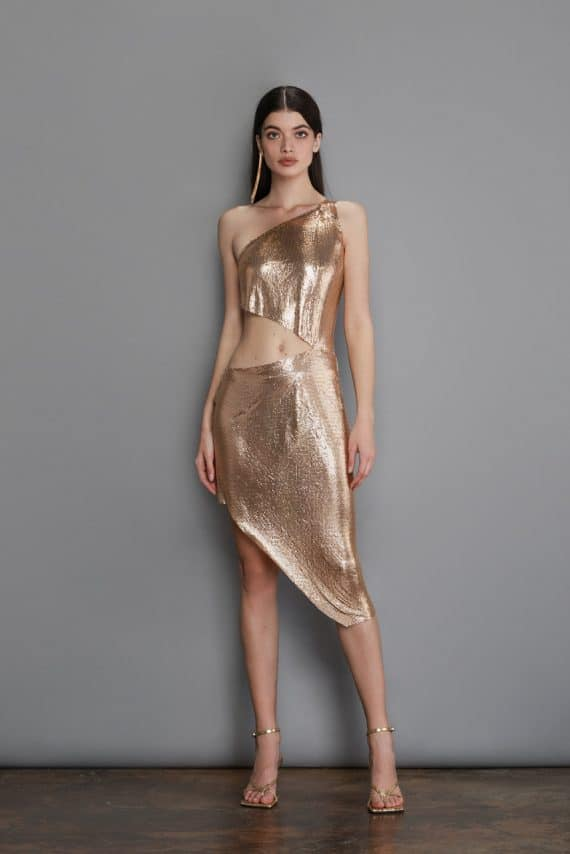 Xenia One Shoulder Gold Dress