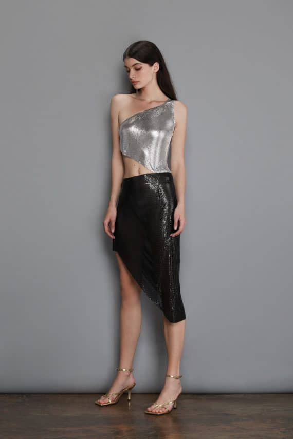 Xenia One Shoulder Silver Dress