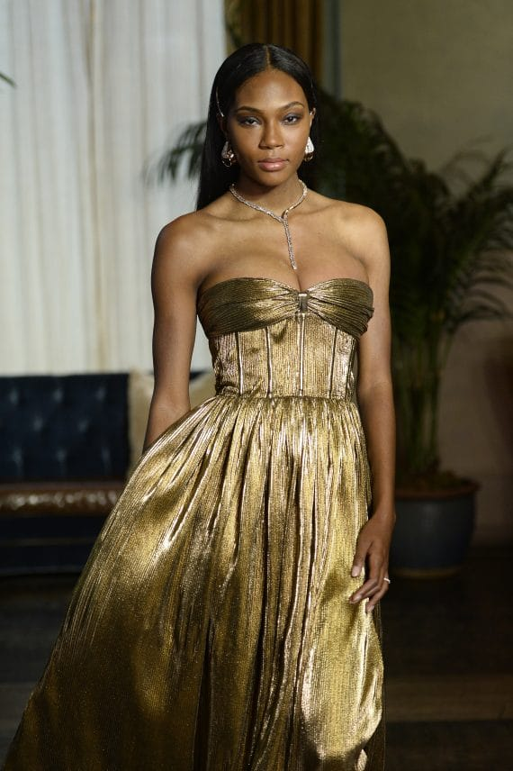 Florence Strapless Gold Gown